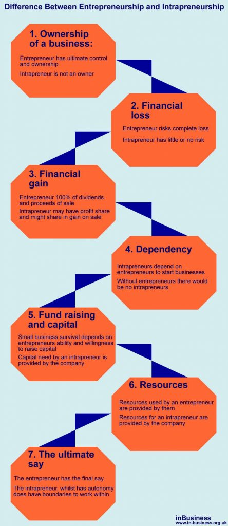 Difference Between Entrepreneurship and Intrapreneurship - info-graphic