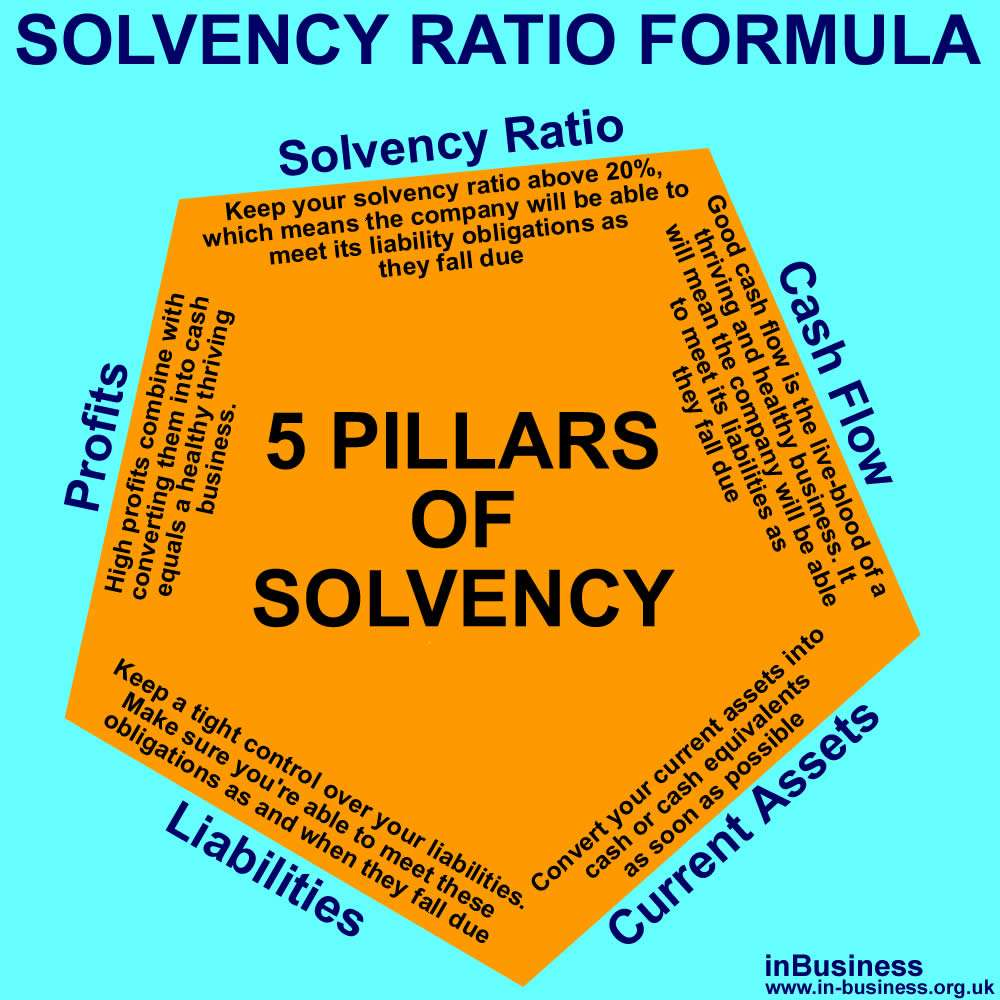 5 Pillars of Solvency for keeping a healthy Solvency Ratio Formula infographic