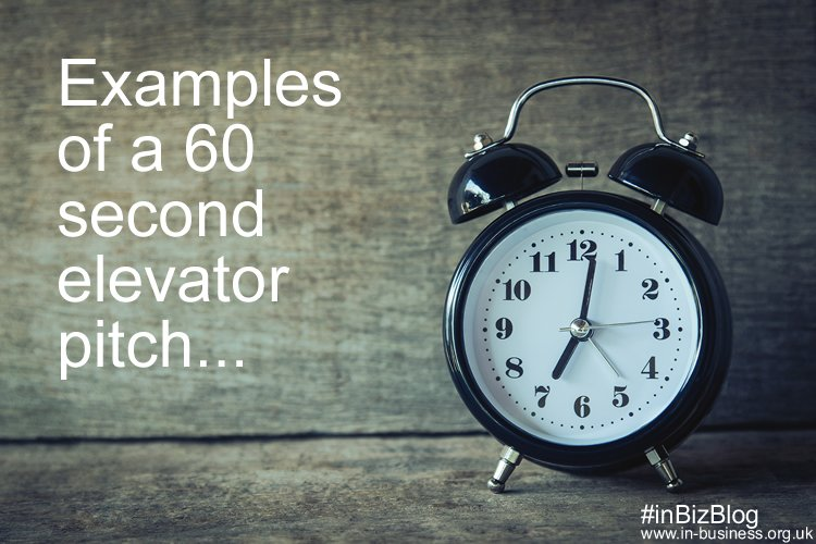 Examples of a 60 second elevator pitch
