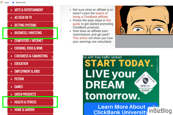 ClickBank market place niche search how to learn to promote ClickBank products without a website