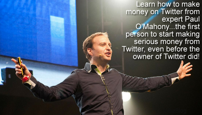 Learn how to make money on Twitter from expert Paul O'Mahony...the first person to start making serious money from Twitter, even before the owner of Twitter did
